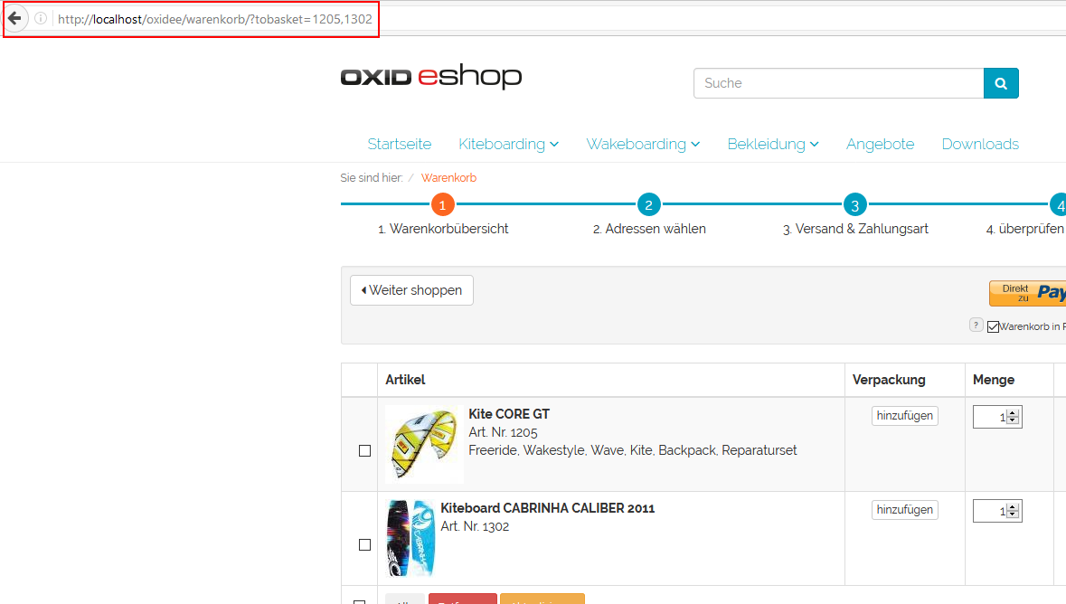 OXID eXchange | Fill up the cart via Link - CE 1.0.1 | Stable | CE ...