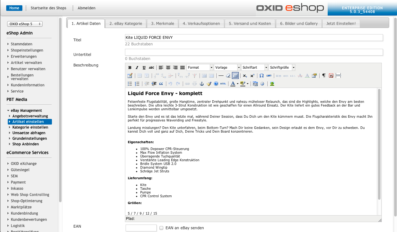 OXID eXchange | OX2BAY - eBay Auctionmanagement for OXID 1.7.4.15352 ...