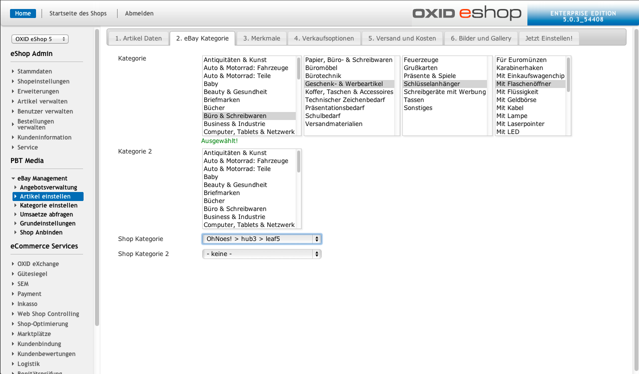 OXID eXchange | OX2BAY - eBay Auctionmanagement for OXID